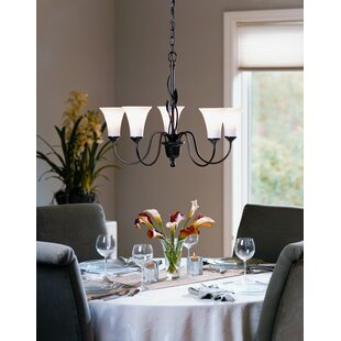 Hubbardton Forge Forged Leaves 5-Light Shaded Chandelier