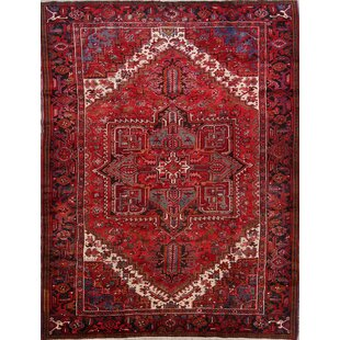 One-of-a-Kind Culloden Heriz Persian Hand-Knotted 8' x 11' Wool Red/Burgundy Area Rug ByIsabelline