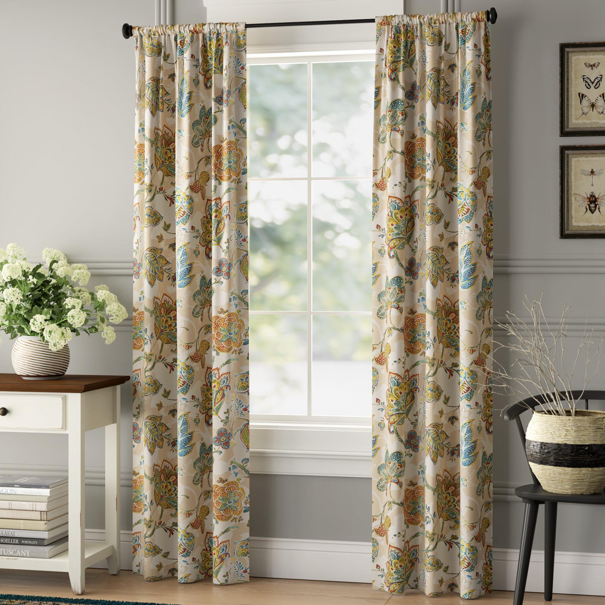 Orkin Nature Floral Semi Sheer Rod Pocket Curtain Panels Reviews Birch Lane
