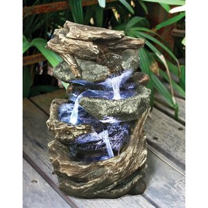 Resin Glacier Peak Cascading Garden Tiered Fountain with LED Light