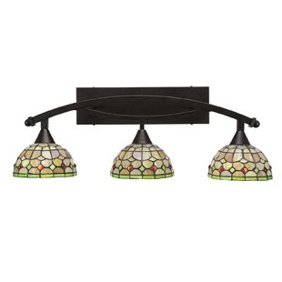 Astoria Grand Austinburg 3-Light Paradise Tiffany Glass Shade Vanity Light