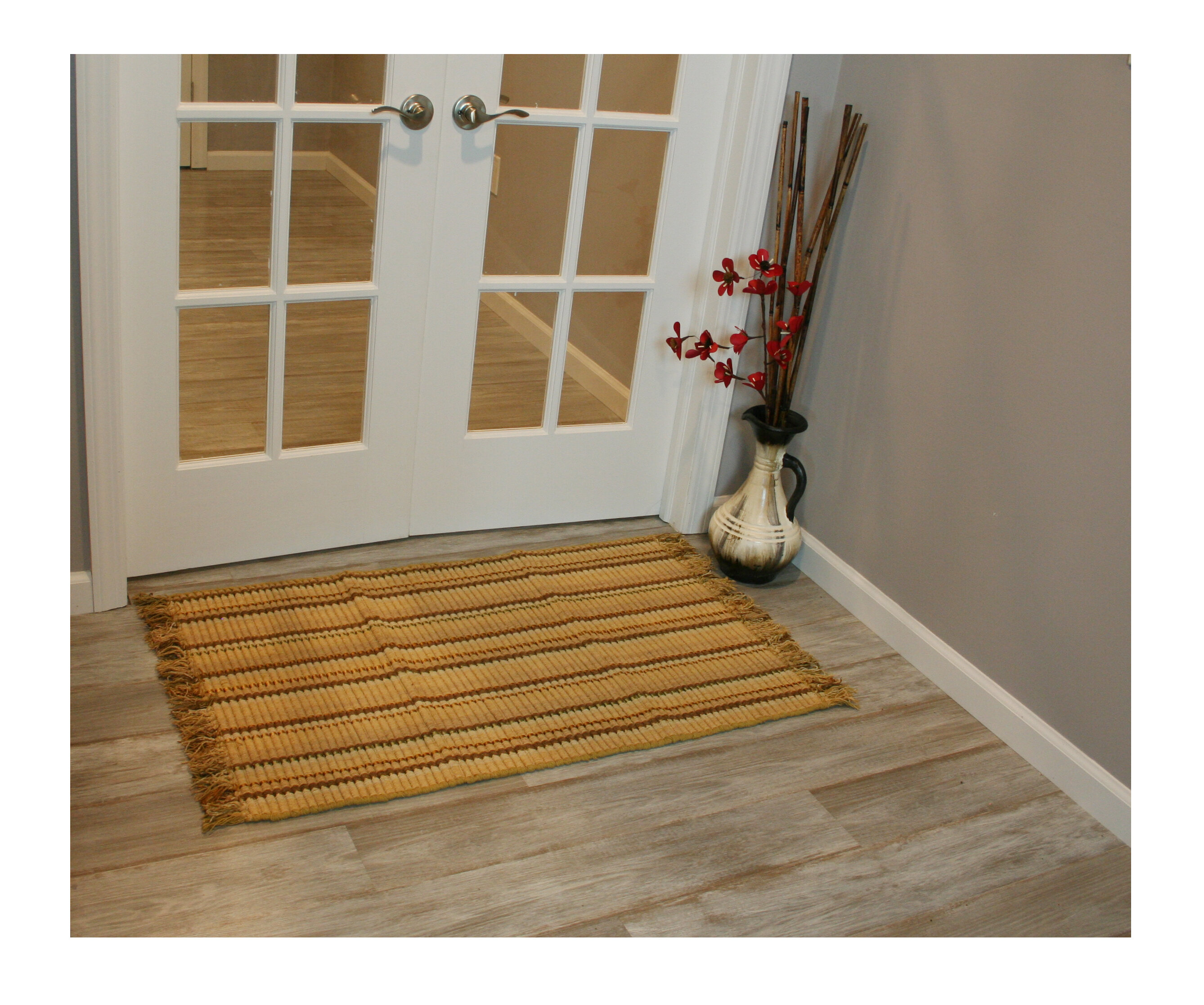 Silk Ribbed Hand Woven Bamboo Area Rugs