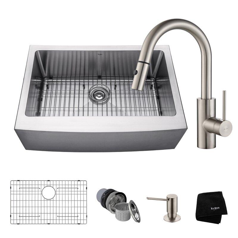 handmade series 2975u201d x 2075u201d farmhouse kitchen sink with faucet and soap dispenser
