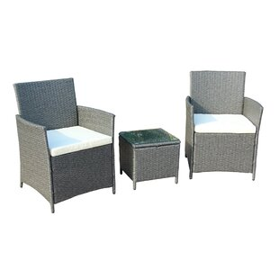 Vernice 3 Piece Rattan 2 Person Seating Group with Cushions