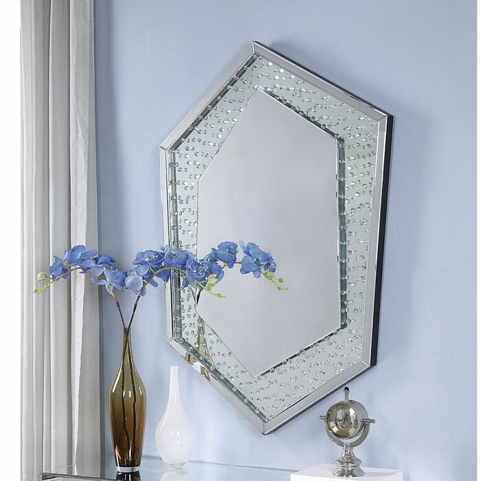 Faux Crystal Accented Wooden Frame Wall Decor