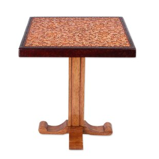Sofiya Colonial Marigold Cedar and Leather End Table