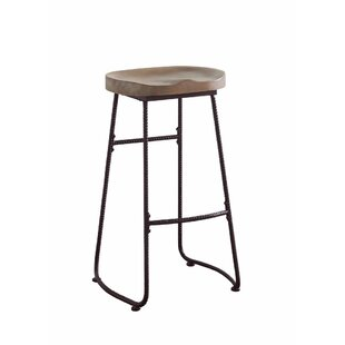Mariposa Antique Wood and Metal 30 Bar Stool by Gracie Oaks