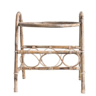 Andreasen Bamboo/Glass End Table by Bungalow Rose