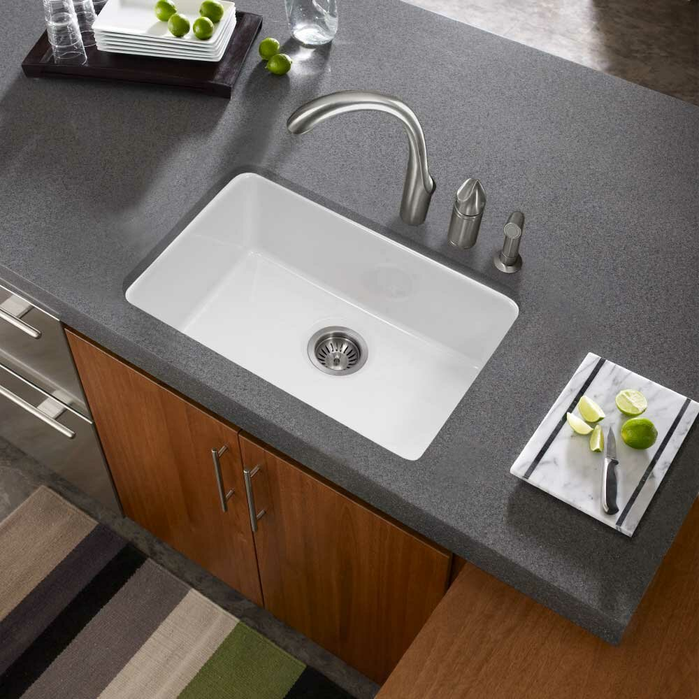 Houzer Platus Fireclay 23 X 16 Undermount Kitchen Sink Reviews Wayfair