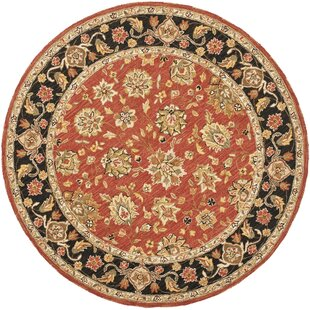 Weaver Hand-Hooked Wool Red Area Rug by Astoria Grand