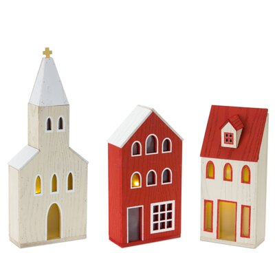 """Church With Timer (Set Of 3) 11""""H, 15.5""""H Mdf The Holiday Aisle"""