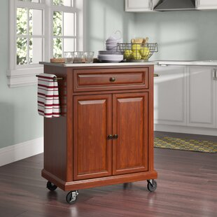 Hedon Kitchen Cart with Stainless Steel Top Three Posts