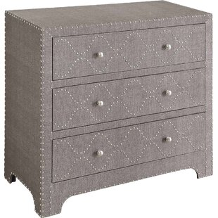 House of Hampton Auld Linen and Nailhead 3 Drawer Chest