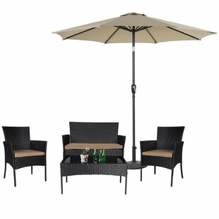 Lolington 5 Piece Rattan Sofa Seating Group with Cushions