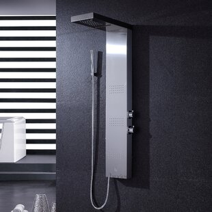 Multi-Function Rainfall and Waterfall Shower Tower Panel Massage Jets System with Handheld Shower Includes Rough-In Valve by Luxier