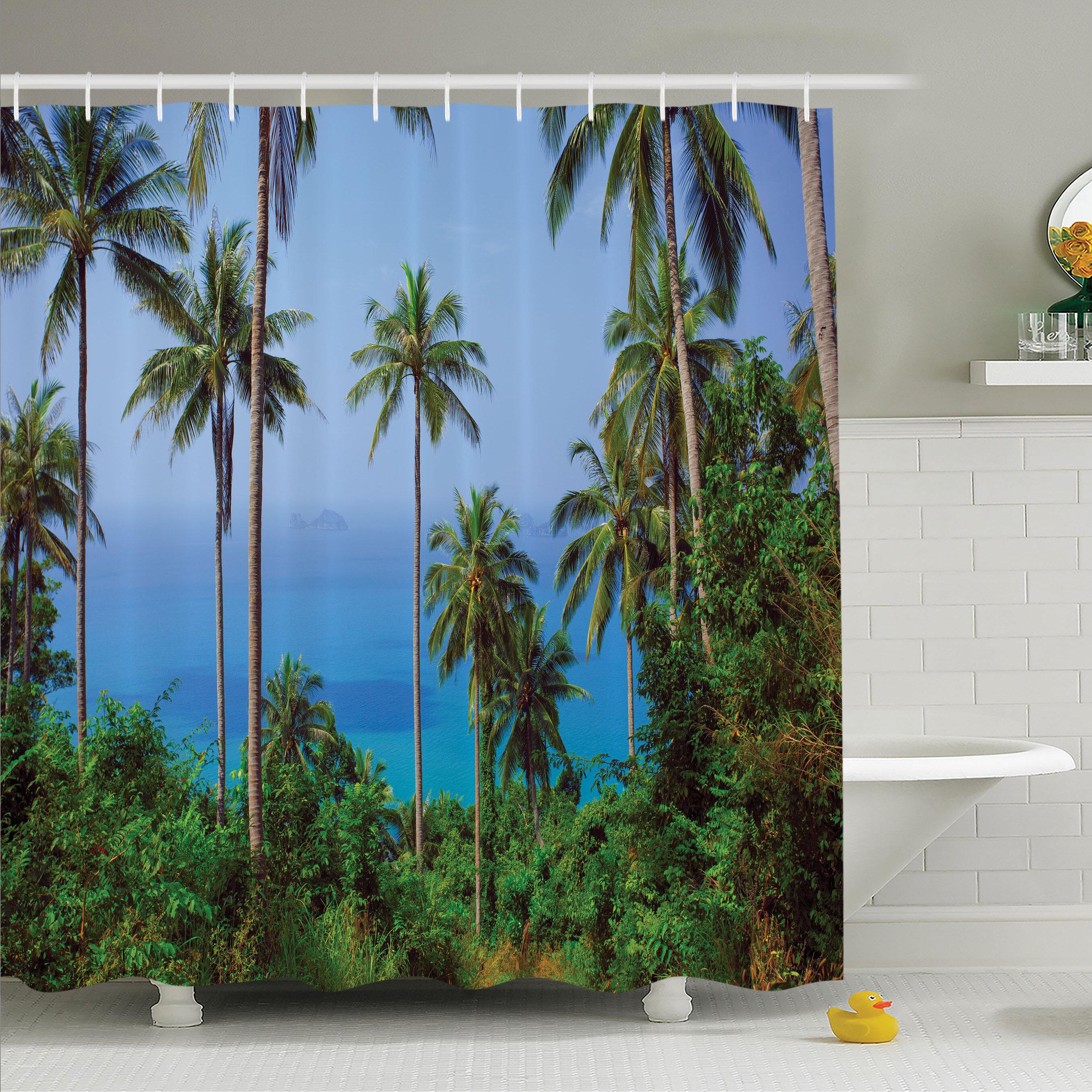 Palm Tree Tropical Waters Green Leaf Beach Shower Curtain Set Bathroom Decor Shower Bathtub Accessories Bath