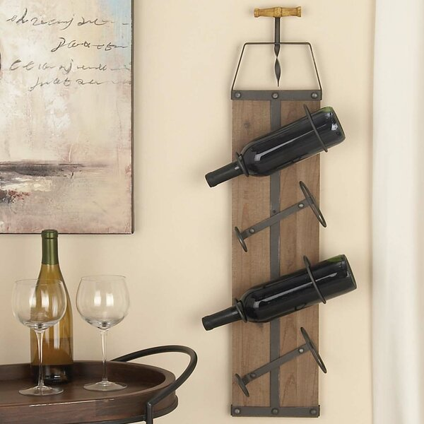 Wall Mounted Metal Wine Rack cole & grey wood/metal 4 bottle wall mounted wine rack & reviews