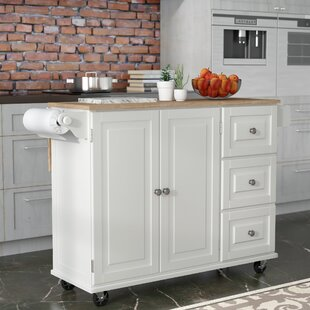Kuhnhenn Kitchen Cart with Wood Top Andover Mills