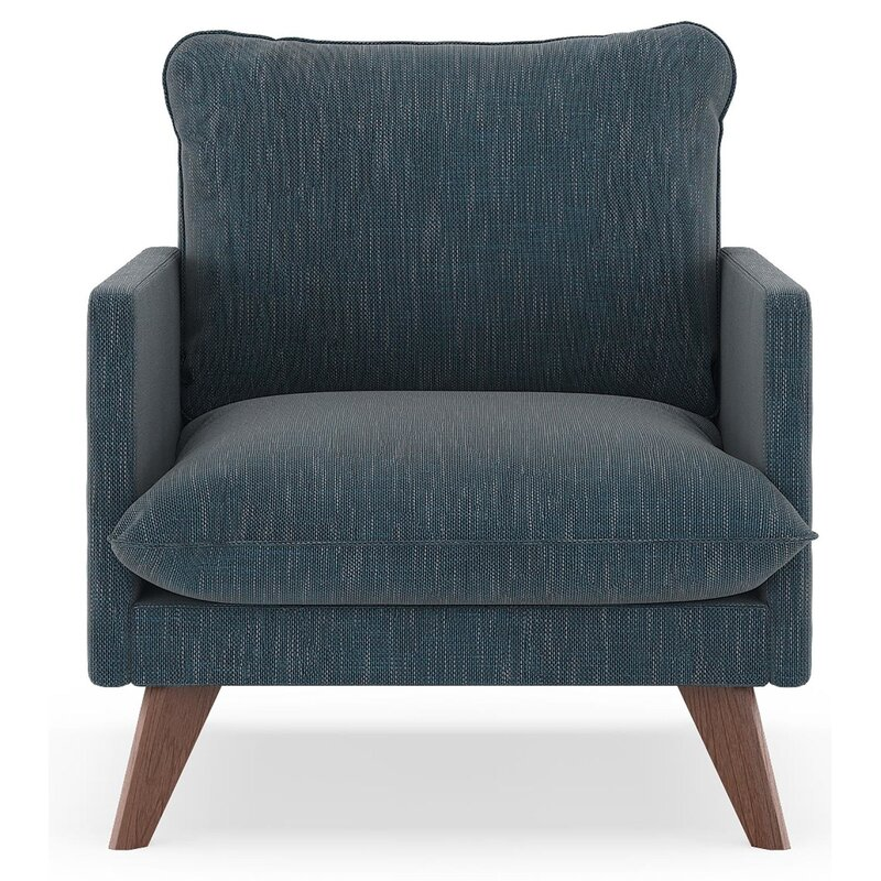 17 Stories  Dillingham Armchair Upholstery: Navy Gray, Finish: Walnut