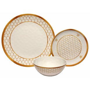 Honeycomb Melamine 12 Piece Dinnerware Set