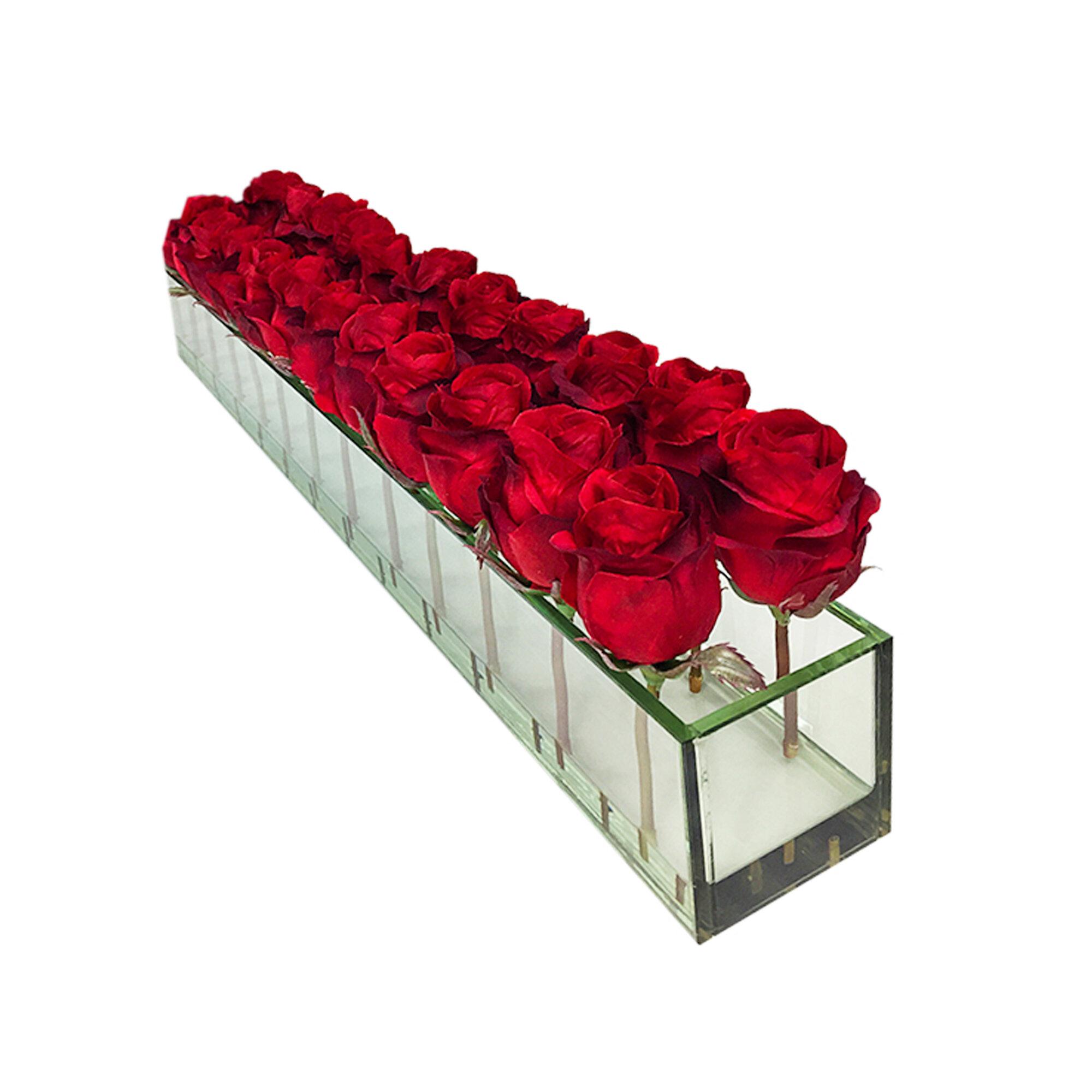 Picture of: Le Prise Roses Floral Arrangement In Glass Vase Reviews Wayfair