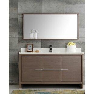 Top Reviews Trieste 60 Allier Single Modern Sink Bathroom Vanity Set with Mirror ByFresca