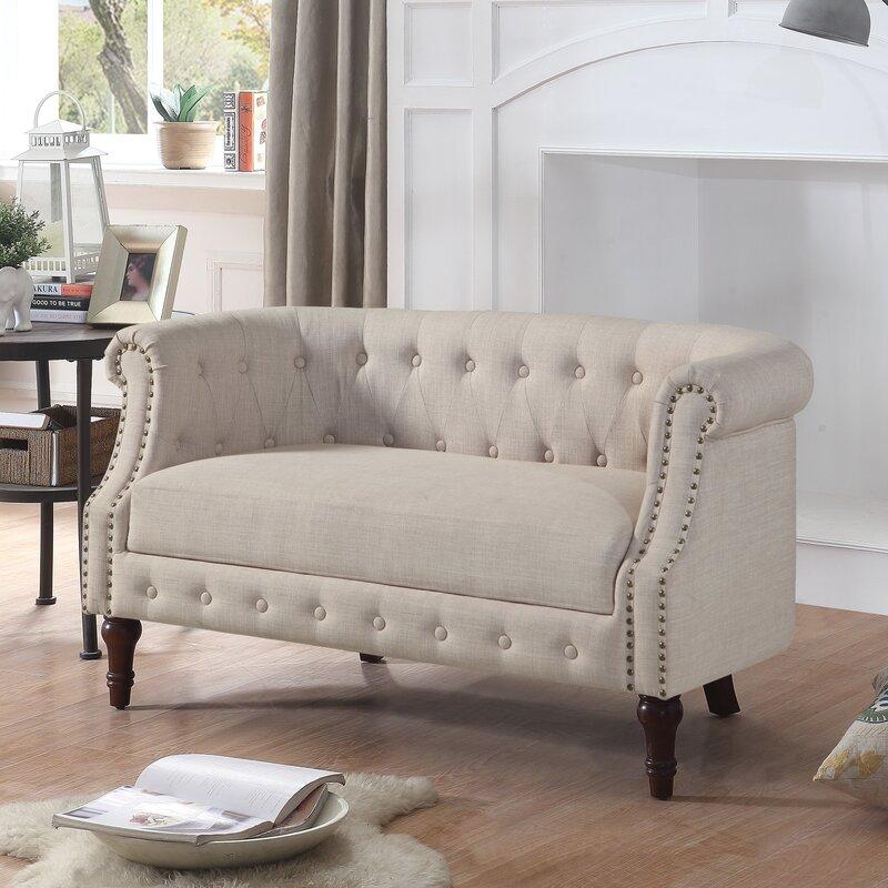 Barryknoll Tufted Upholstered Settee - dealepic on Safavieh Ransin id=44144