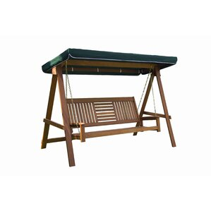 allen 3 seater wood canopy porch swing with stand - Wooden Porch Swing