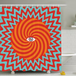 Inner Eye in Center of Spiral Lines with Concentric Circle Pattern Hypnotic Art Shower Curtain Set