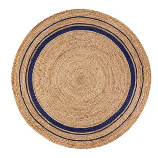 Cheval Midnite Hand-Braided Tan/Navy Blue Area Rug by Laurel Foundry Modern Farmhouse