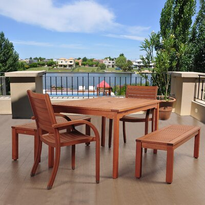 Twedt International Home Outdoor 5 Piece Dining Set by Highland Dunes Comparison