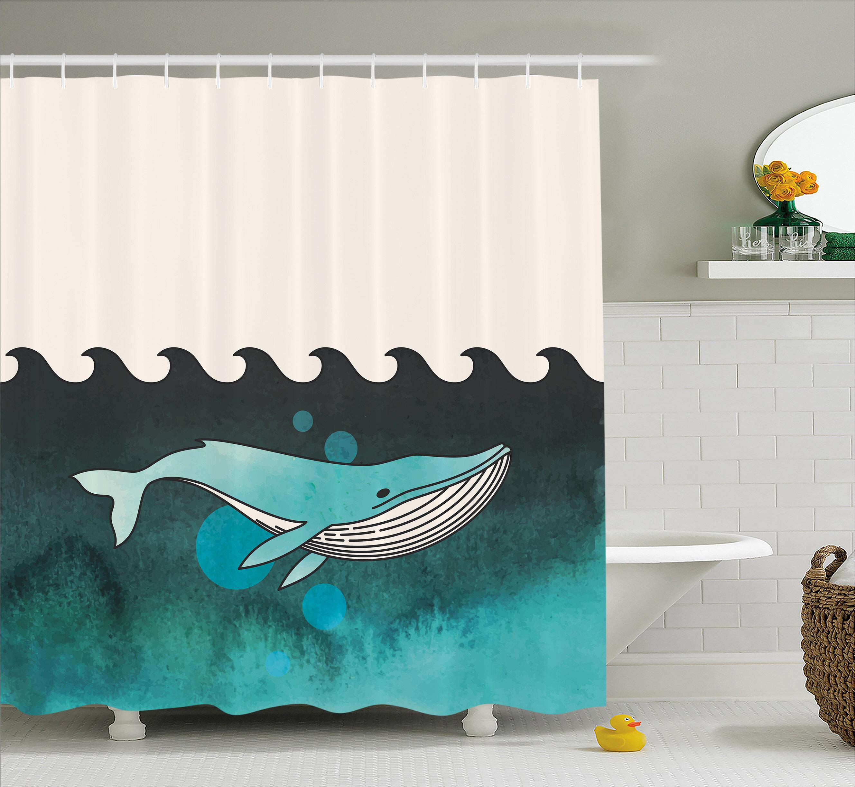 East Urban Home Animal Whale Near Palm Island Shower Curtain