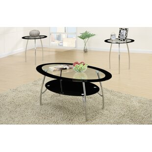 Chmura Oval Edge Glass Top 3 Piece Coffee Table Set by Ebern Designs