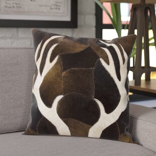 Agate Antler Piecework Hide Throw Pillow