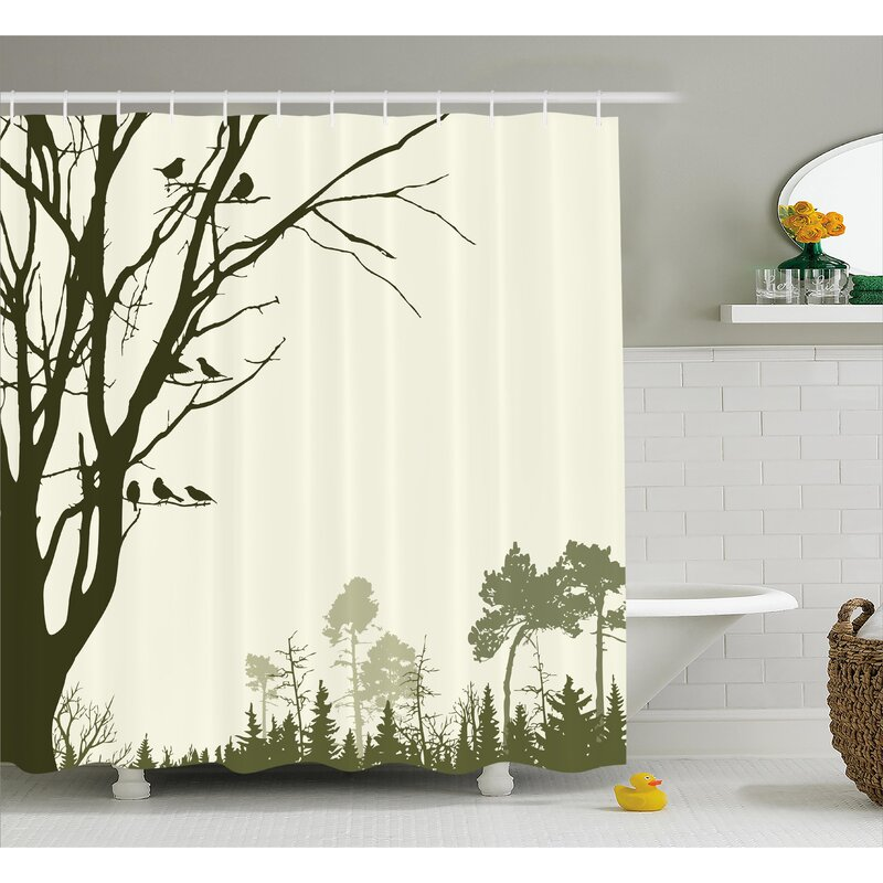 Buragate Nature Theme The Panorama Of A Forest Pattern Birds On Tree Branches Shower Curtain