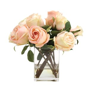 Waterlook Silk Roses And Rose Buds In Tall Glass Square by Distinctive Designs Top Reviews