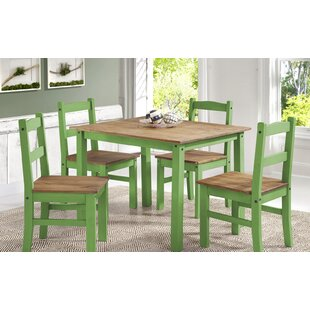 Gracie Oaks Rodgers Solid Wood 5 Piece Dining Set