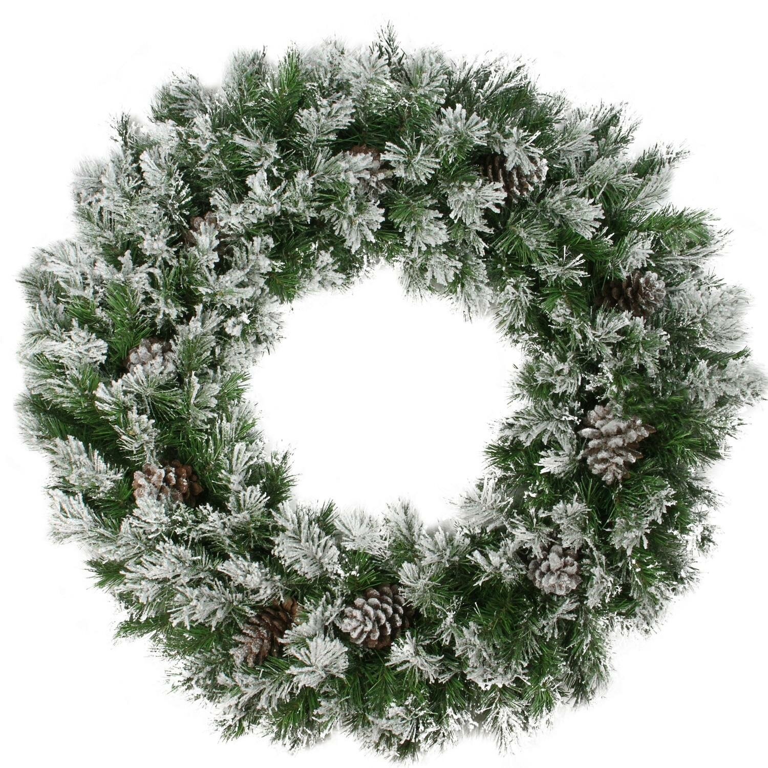 Northlight 24 Flocked Angel Pine With Pine Cones Artificial Christmas Wreath With Unlit Reviews Wayfair Ca