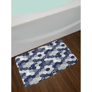 Octagon Navy and White Navy Blue Bath Rug