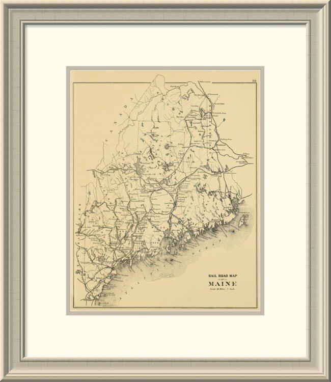 East Urban Home Railroad Map Of Maine 1894 Framed Print Wayfair