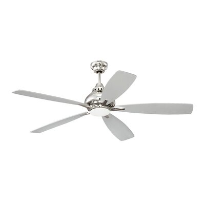 Brayden Studio 52 Ariel 5 Blade Ceiling Fan with Remote Finish: Polished Nickel with Brushed Nickel/Gray Blades