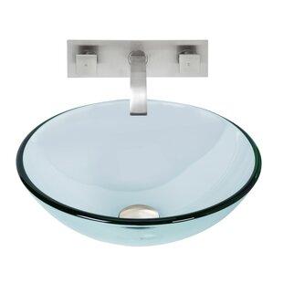 VIGO Crystalline Glass Circular Vessel Bathroom Sink with Faucet