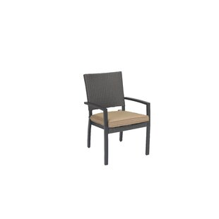 Kissling Wicker Stacking Patio Dining Chair with Cushion (Set of 2) by Alcott Hill