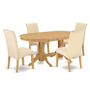 Paramus Oval Kitchen Table 5 Piece Extendable Solid Wood Dining Set