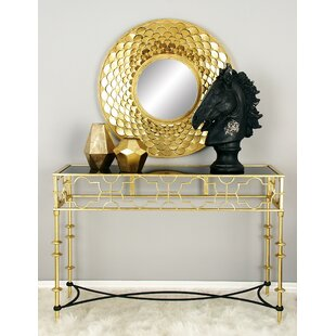 Metal Glass Console Table by Cole & Grey
