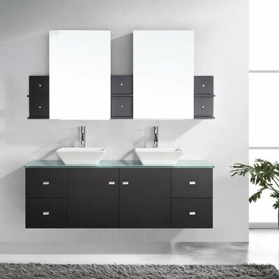"Bathroom Vanity Glass Top mercury row decastro modern 61"" double bathroom vanity set with"