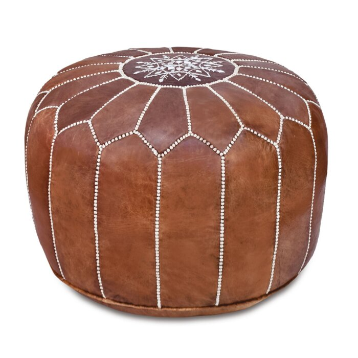 Brilliant Spada Moroccan Leather Pouf Ottoman Caraccident5 Cool Chair Designs And Ideas Caraccident5Info