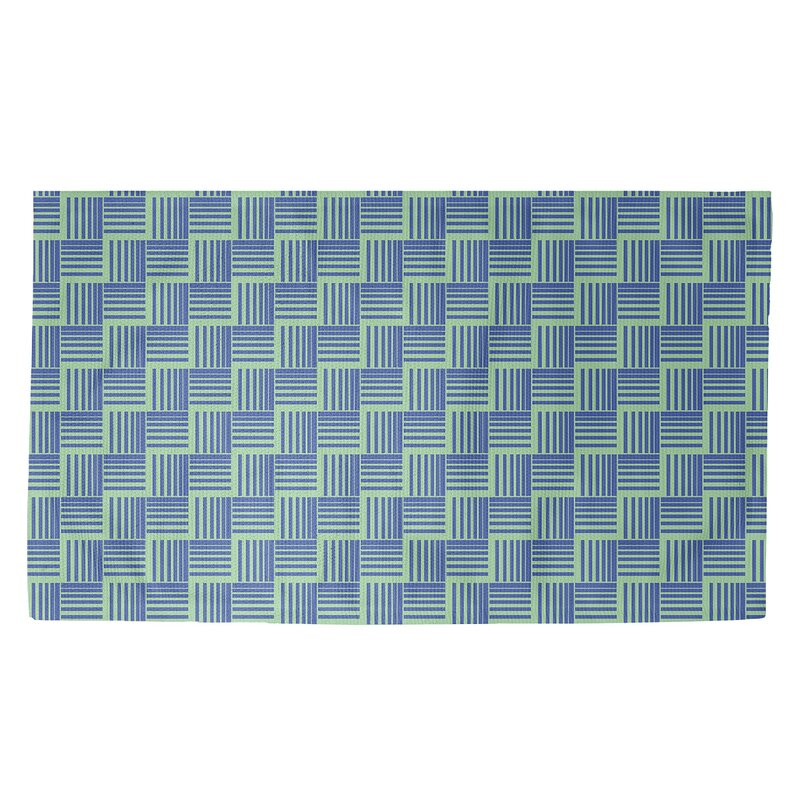 Brayden Studio Basketweave Stripes Blue Green Area Rug Wayfair