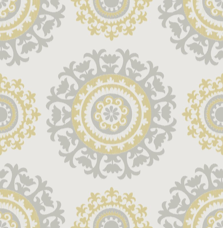 Grey and yellow 18 x 20 5 suzani peel and stick wallpaper roll