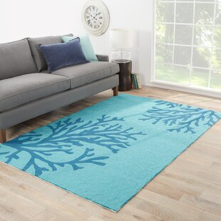 Exeter Conversational Hand-Hooked Seaport/Algiers Blue Indoor/Outdoor Area Rug
